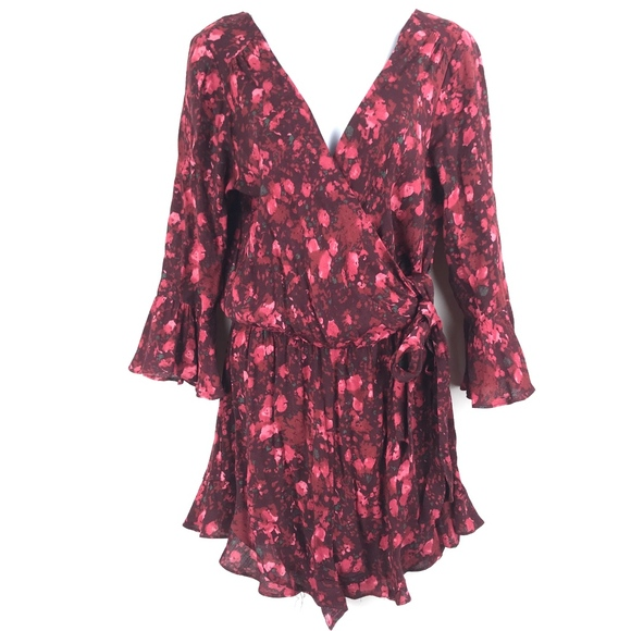 Free People Pants - Free People Romper M All The Right Ruffles Maroon